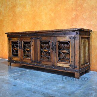 "Reclaimed Wood TV Stand, 72"" Old Espanola Alamo TV Stand - Demejico"