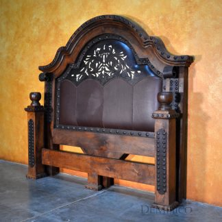Alamo Bed with Tooled Leather, Mediterranean Bed - Demejico