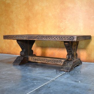 Old Wood Armida Spanish Coffee Table, Carved Coffee Table - Demejico