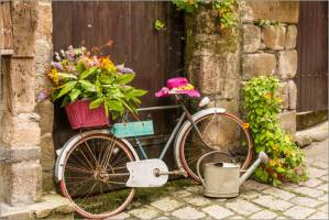 Bicycle with Flower Baskets in Cobbled Street at www.dementiaworkshop.co.uk.