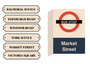 SHOP HERE FOR SIGNAGE WAY-FINDING - BUS STOPS DOORS