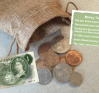 Coin Bag with original sterling and chat card at www.dementiaworkshop.co.uk
