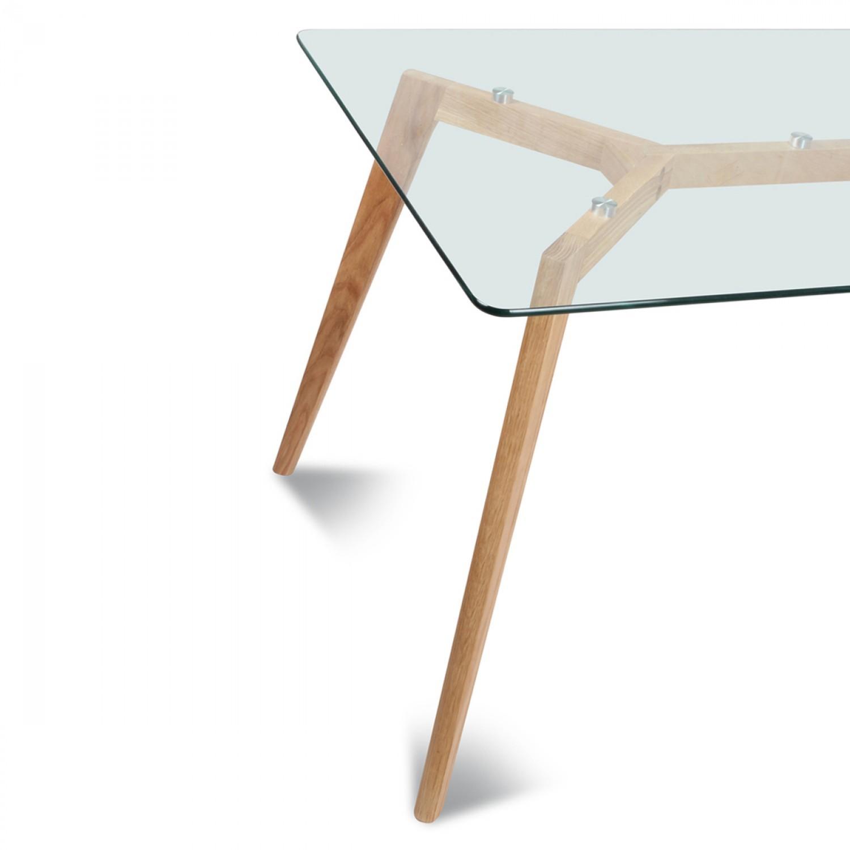 table rectangulaire plateau de verre style scandinave