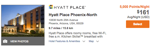 This Phoenix-area Hyatt Place costs $180.36 with taxes.