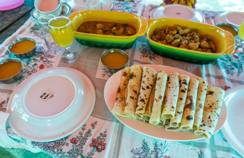 Lunch! Mahi Mahi curry, chicken curry, and roti.