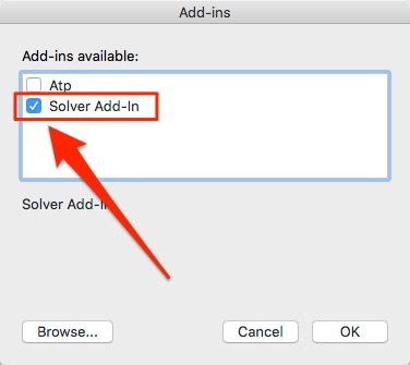 Select Solver Add-In
