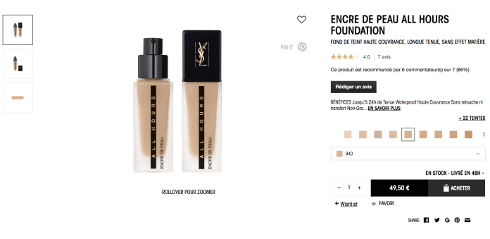 ENCRE DE PEAU ALL HOURS FOUNDATION YSL 杨树林 24H粉底液