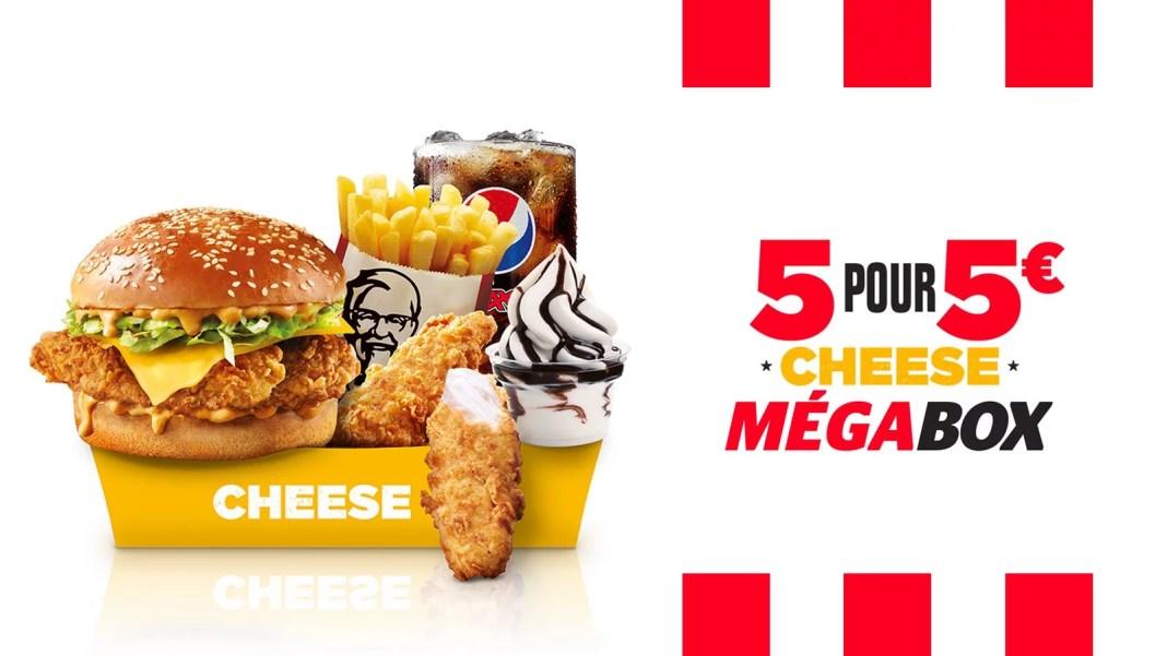 KFC MEGA BOX : 5 PRODUITS = 5€