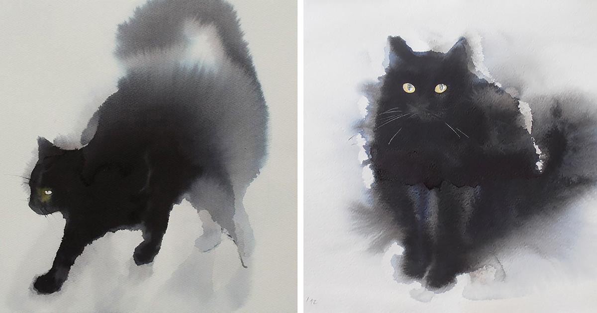 Watercolor Portraits Cats