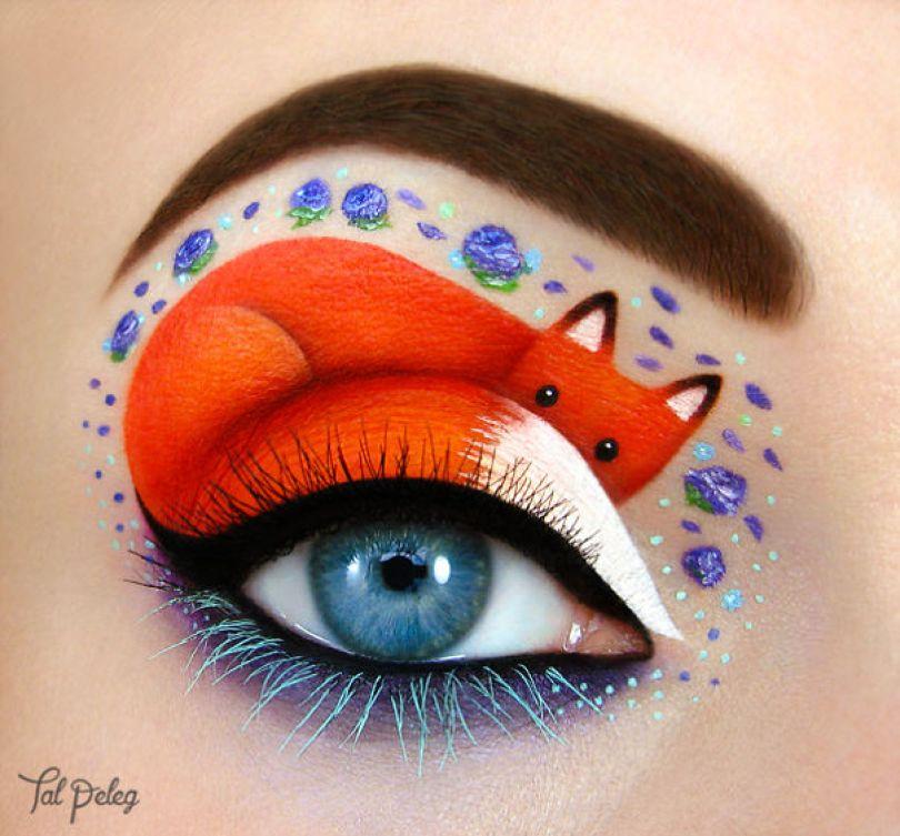 make up eyelid eye art drawings tal peleg israel  - Artista israelense desenha arte de maquiagem em suas próprias pálpebras