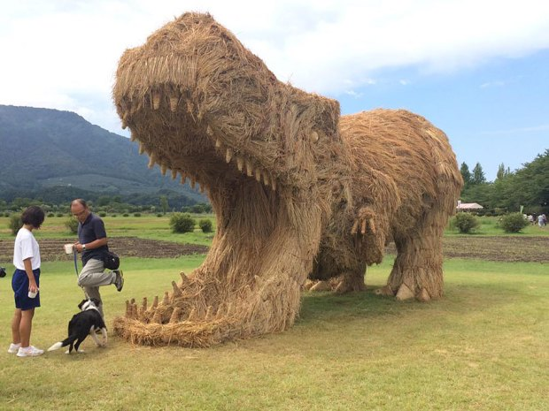Straw Sculptures Wara Festival Niigata Japan Gigantic T-Rex with Open Jaw Photo Opportunity