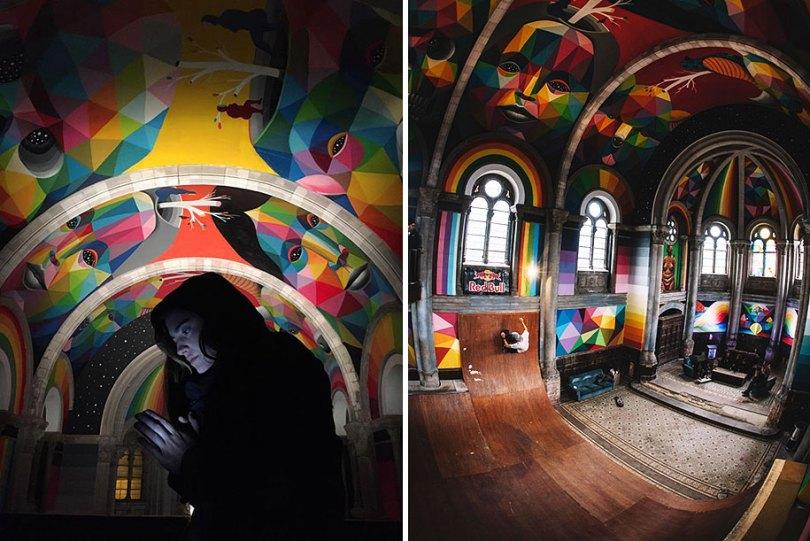 abandoned church skate park kaos temple okuda san miguel 3 - Igreja abandonada de 100 anos transformada em parque de skate com tema de graffiti
