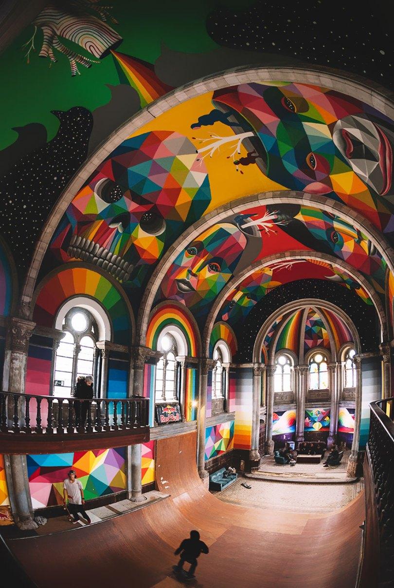 abandoned church skate park kaos temple okuda san miguel 9 - Igreja abandonada de 100 anos transformada em parque de skate com tema de graffiti