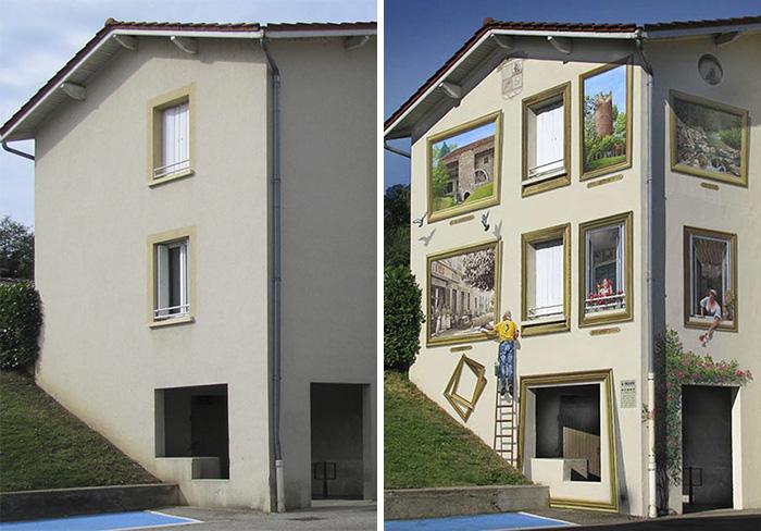 street art hyper realistic fake facades patrick commecy 12 - Artista francês transforma fachadas de prédios em desenhos cheios de vida