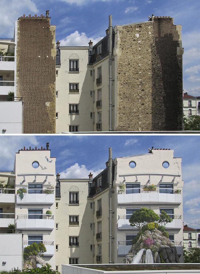 street art hyper realistic fake facades patrick commecy 29 - Artista francês transforma fachadas de prédios em desenhos cheios de vida