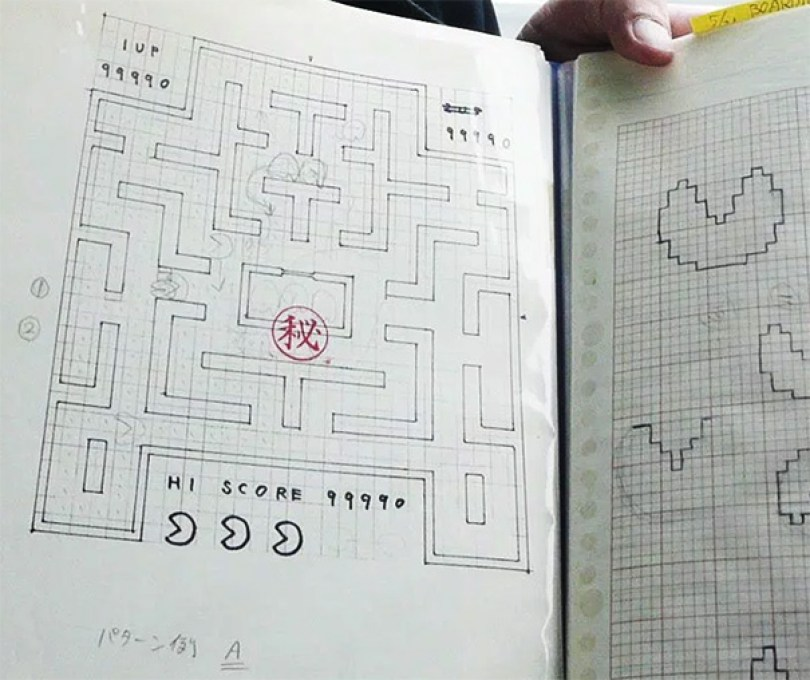 pac man original drawings toru iwatani 5 - O rascunho original que tirou o Pac-Man do papel