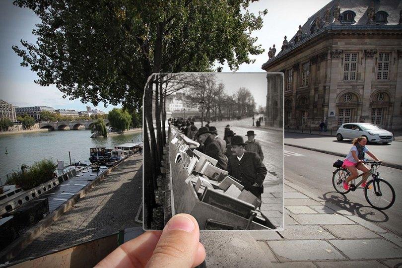 old paris past now photography julien knez 12 - Paris no passado nestas fotos justapostas