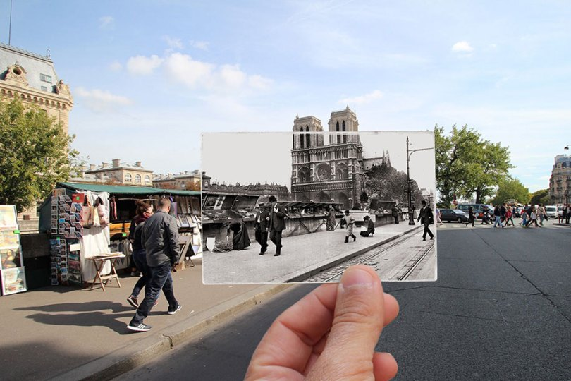 old paris past now photography julien knez 13 - Paris no passado nestas fotos justapostas