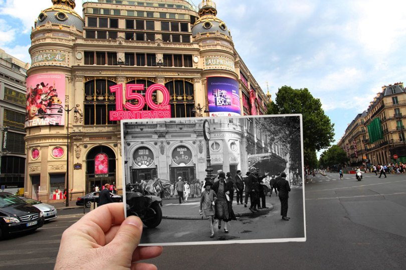 old paris past now photography julien knez 16 - Paris no passado nestas fotos justapostas