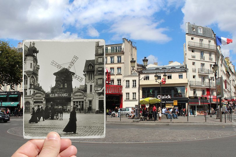 old paris past now photography julien knez 3 - Paris no passado nestas fotos justapostas
