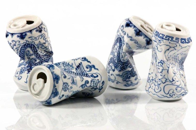 porcelain cans sculptures drinking tea lei xue 1 - Latas de refrigerante esmagadas feitas de porcelana