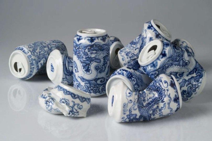 porcelain cans sculptures drinking tea lei xue 6 - Latas de refrigerante esmagadas feitas de porcelana