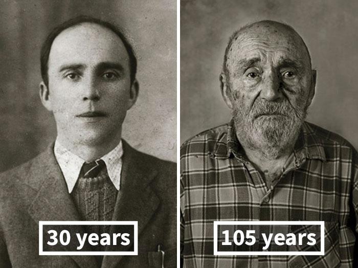 young vs old portraits faces of century jan langer 11 - Impressionante série de retratos: Centenários antes de depois