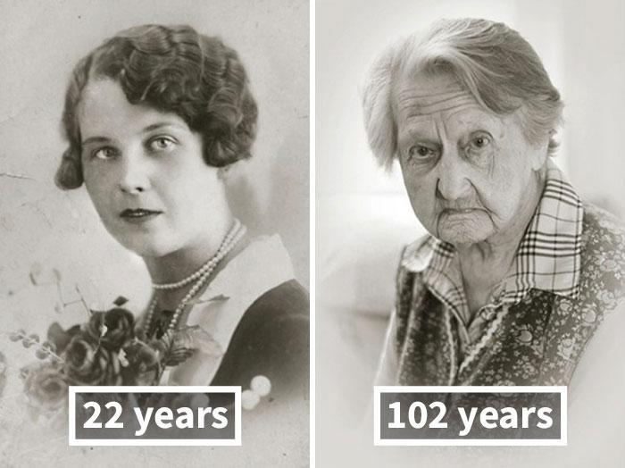 young vs old portraits faces of century jan langer 13 - Impressionante série de retratos: Centenários antes de depois