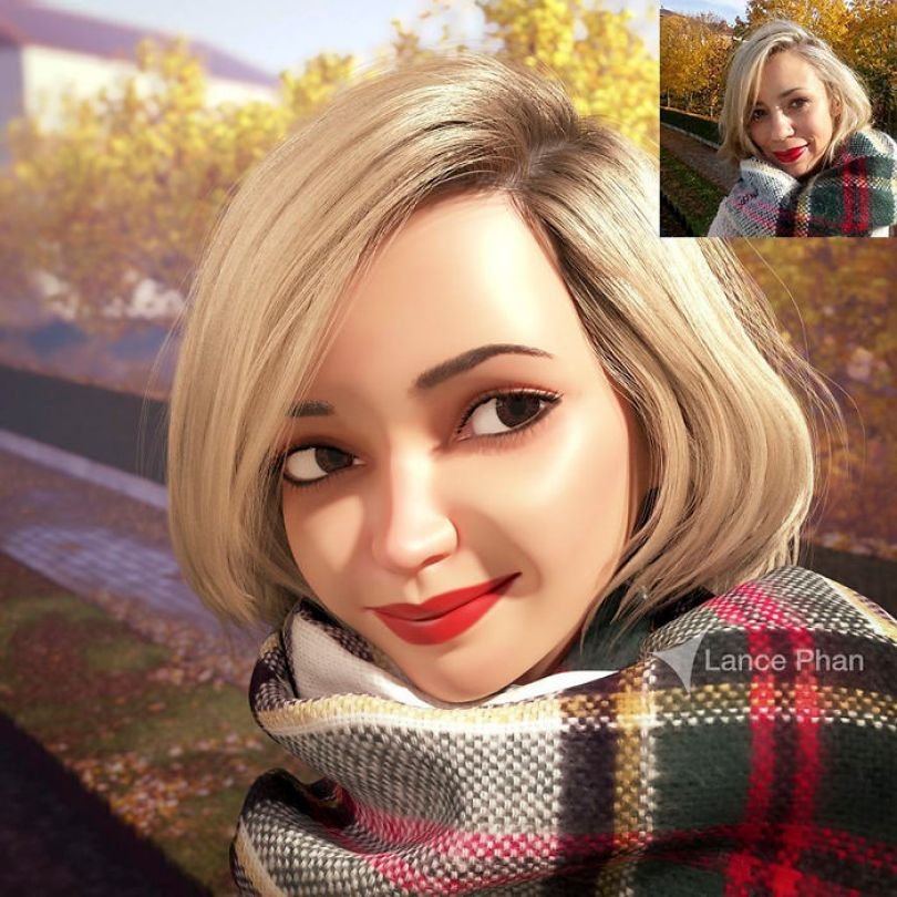59b695d0dfc30 artist transforms strangers 3d cartoons lance phan 5 59b23c98a3363  700 - Você gostaria de se tornar um personagem da Pixar?