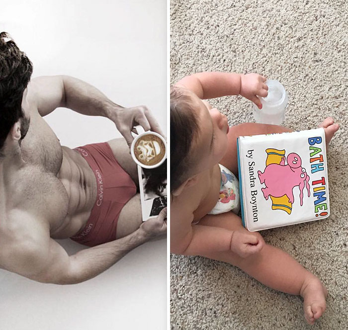 5ac5db152747d-baby-copies-model-poses-babyandthebody-31-59e0826f9d3ac__700 Mom Makes Fun Of Her Model Brother By Having Her Toddler Recreate His Poses, And Result Is Hilariously Adorable Photography Random