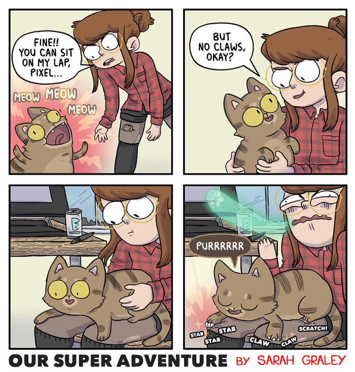 5b6d3bc0db049-relationship-comics-boyfriend-cats-sarah-graley-illustration-26-5b6ae2ed55535-png__700 Artist Creates Hilarious Comics Illustrating Her Daily Adventures With Her Fiancé And Her Four Cats Random