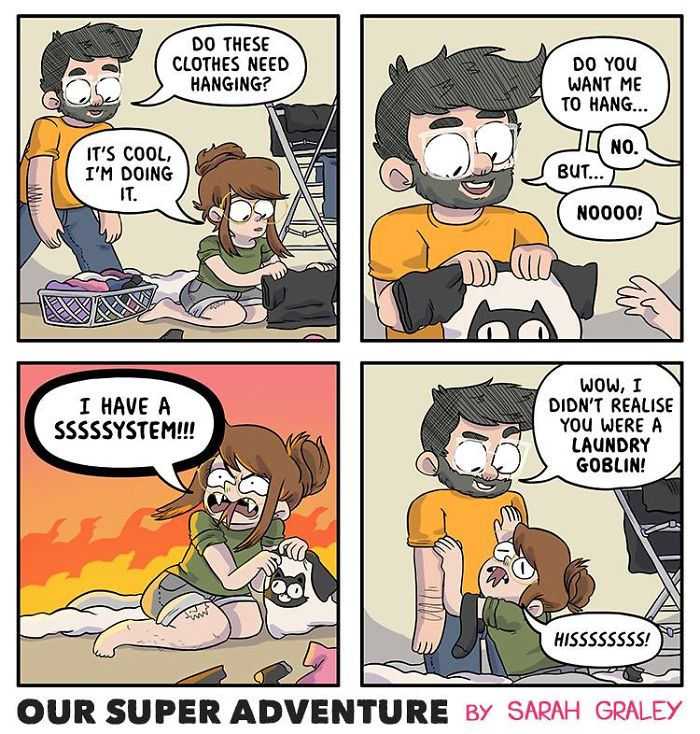 5b6d3bc2063ef-relationship-comics-boyfriend-cats-sarah-graley-illustration-5b6ae6aa435b4__700 Artist Creates Hilarious Comics Illustrating Her Daily Adventures With Her Fiancé And Her Four Cats Random