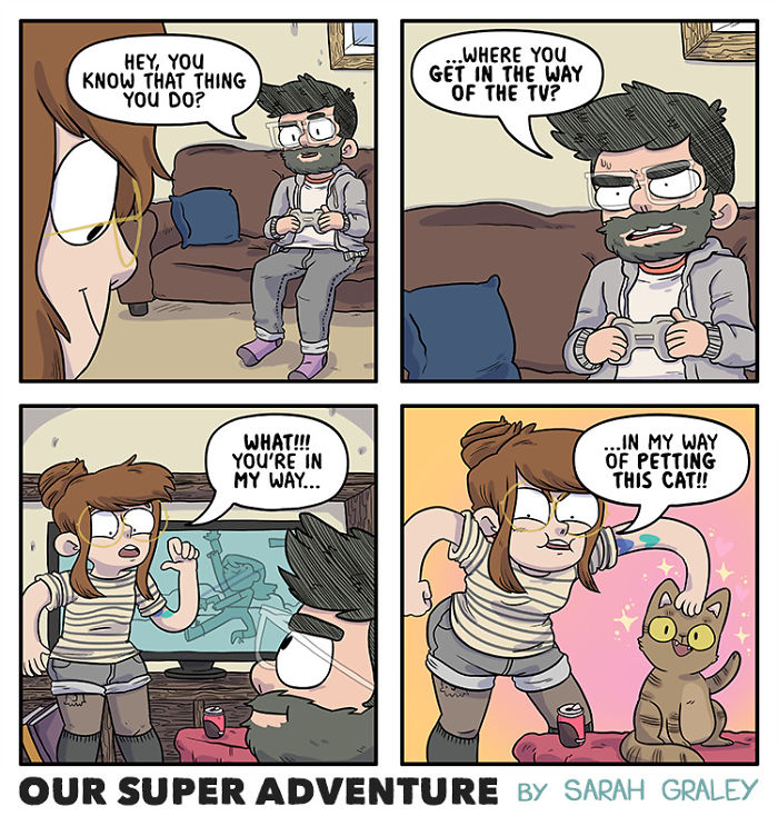 5b6d3bc5b73f2-relationship-comics-boyfriend-cats-sarah-graley-illustration-7-5b6ae2c094499-png__700 Artist Creates Hilarious Comics Illustrating Her Daily Adventures With Her Fiancé And Her Four Cats Random