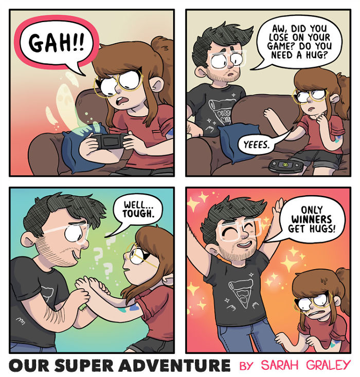5b6d3bc89f687-relationship-comics-boyfriend-cats-sarah-graley-illustration-5b6ae6c4827a0-png__700 Artist Creates Hilarious Comics Illustrating Her Daily Adventures With Her Fiancé And Her Four Cats Random