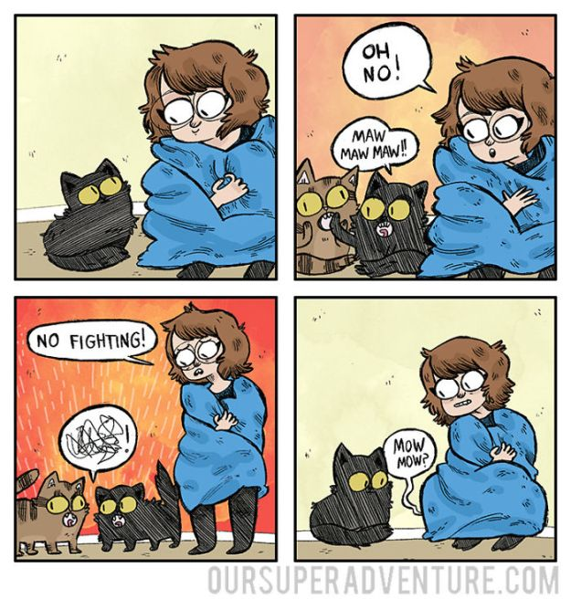 5b6d3bc9e067c-relationship-comics-boyfriend-cats-sarah-graley-illustration-62-5b6ae33b73329-png__700 Artist Creates Hilarious Comics Illustrating Her Daily Adventures With Her Fiancé And Her Four Cats Random