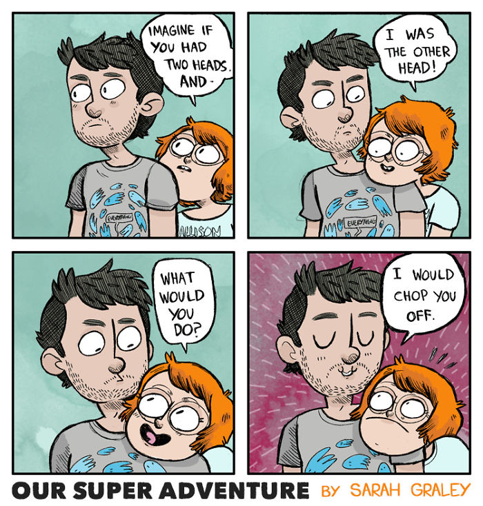 5b6d3bcbec333-relationship-comics-boyfriend-cats-sarah-graley-illustration-5b6ae6c8b79f9-png__700 Artist Creates Hilarious Comics Illustrating Her Daily Adventures With Her Fiancé And Her Four Cats Random