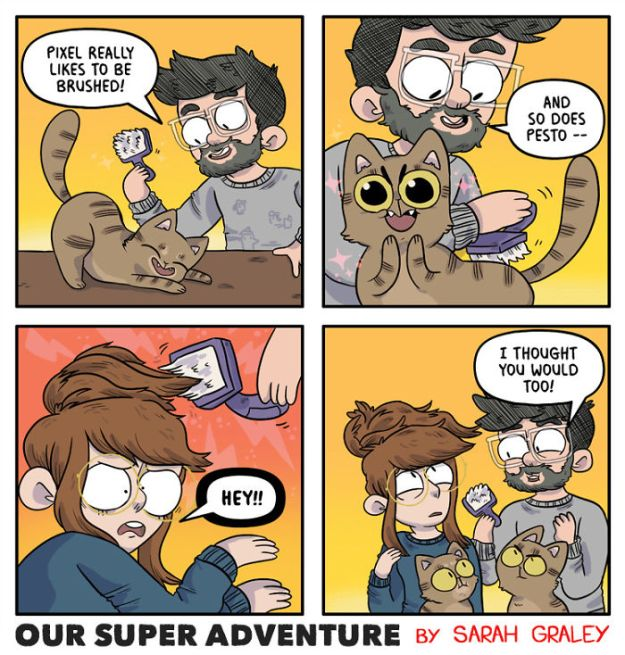 5b6d3bce604e6-relationship-comics-boyfriend-cats-sarah-graley-illustration-25-5b6ae2eb25301-png__700 Artist Creates Hilarious Comics Illustrating Her Daily Adventures With Her Fiancé And Her Four Cats Random