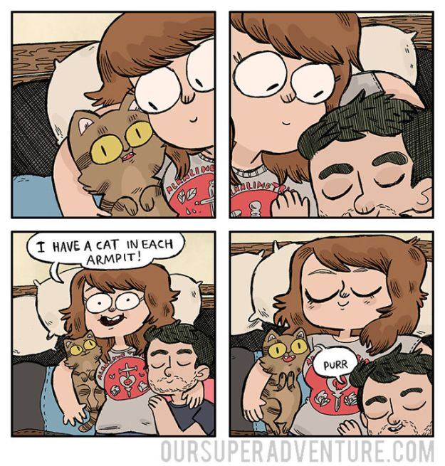 5b6d3bcf57fb3-relationship-comics-boyfriend-cats-sarah-graley-illustration-55-5b6ae32bca6eb-png__700 Artist Creates Hilarious Comics Illustrating Her Daily Adventures With Her Fiancé And Her Four Cats Random