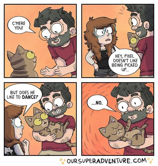 5b6d3bd0ee4c0-relationship-comics-boyfriend-cats-sarah-graley-illustration-33-5b6ae2fc0dd3d__700 Artist Creates Hilarious Comics Illustrating Her Daily Adventures With Her Fiancé And Her Four Cats Random