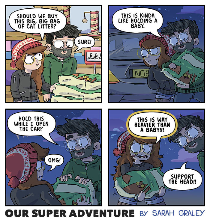 5b6d3bd183c07-relationship-comics-boyfriend-cats-sarah-graley-illustration-5b6ae6b8debae-png__700 Artist Creates Hilarious Comics Illustrating Her Daily Adventures With Her Fiancé And Her Four Cats Random