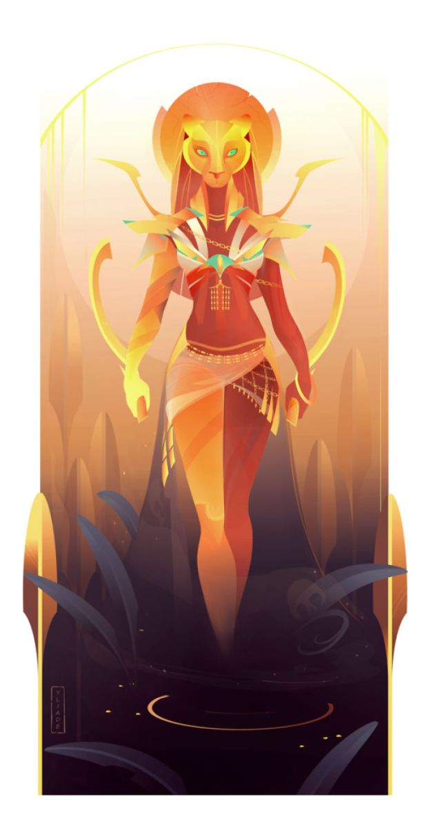 5bcf06f048292-3-Sekhmet-Yliade-5bc64636d01d2__700 This French Artist Created 11 Beautiful Illustrations Of Ancient Egyptian Gods And Goddesses Random