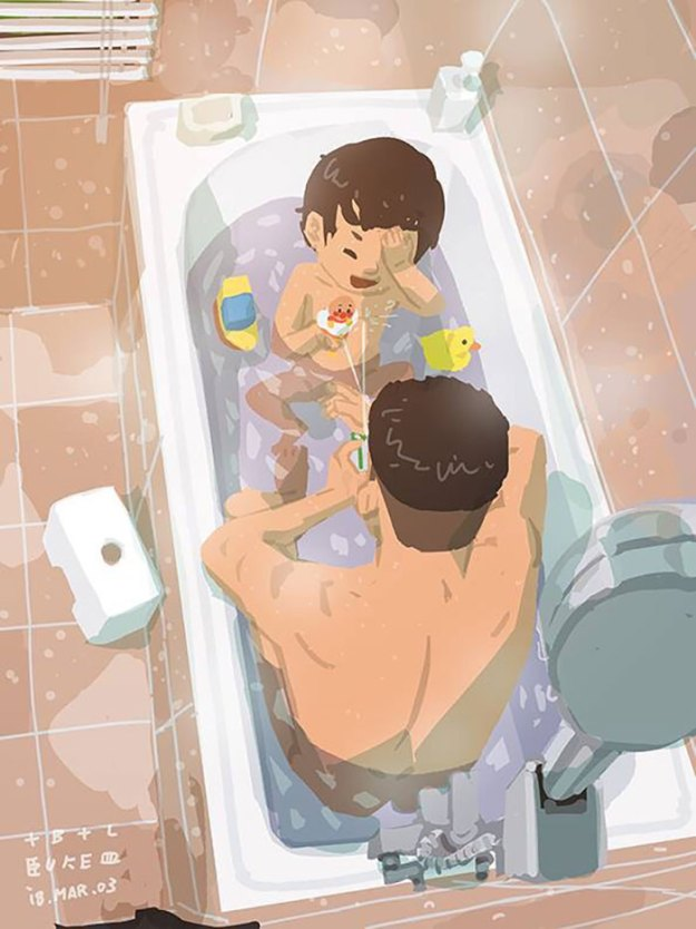 5bfbc250e0209-father-son-love-comics-blue-1-5bf7ae4b1af76__700 38 Heartwarming Illustrations Showing What It's Like To Raise A Child As A Single Dad Random