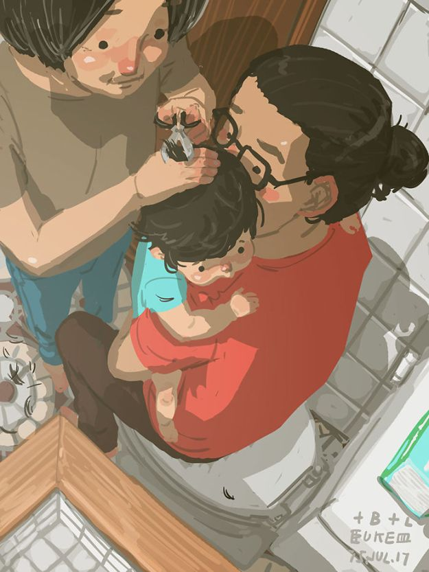 5bfbc253c5f4d-father-son-love-comics-blue-25-5bb70c55cf6d8__700 38 Heartwarming Illustrations Showing What It's Like To Raise A Child As A Single Dad Random