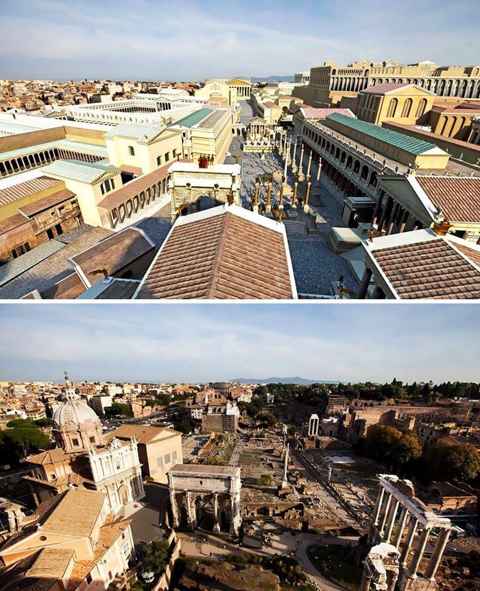 5c9c834777e2d before after roman buildings structures 7 5c9b4844c453c  700 - 11 estruturas antigas dos romanos há 2000 anos como seria na época