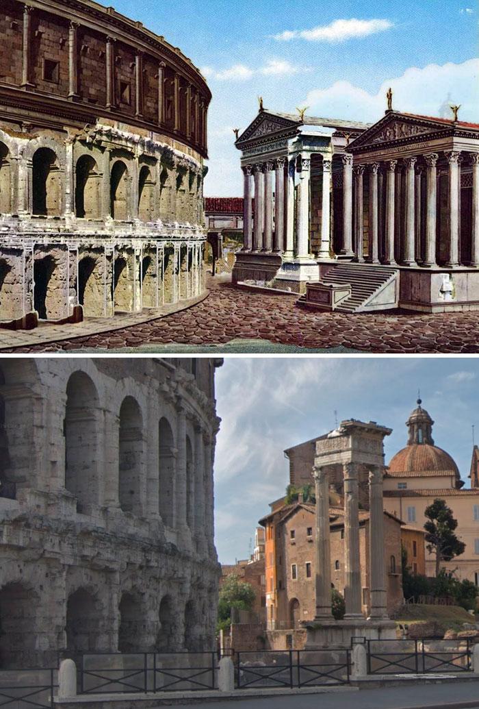 5c9c8347a0883 before after roman buildings structures 9 5c9b48ab2f77e  700 - 11 estruturas antigas dos romanos há 2000 anos como seria na época