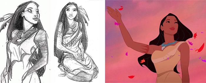 5c9c835d0ba59 concept art sketches original compared disney characters 11 5c989348aa4bf  700 - Personagens da Disney em comparação com sua arte conceitual original