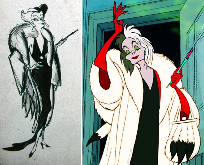 5c9c835dee063 concept art sketches original compared disney characters 8 5c9893440433d  700 - Personagens da Disney em comparação com sua arte conceitual original