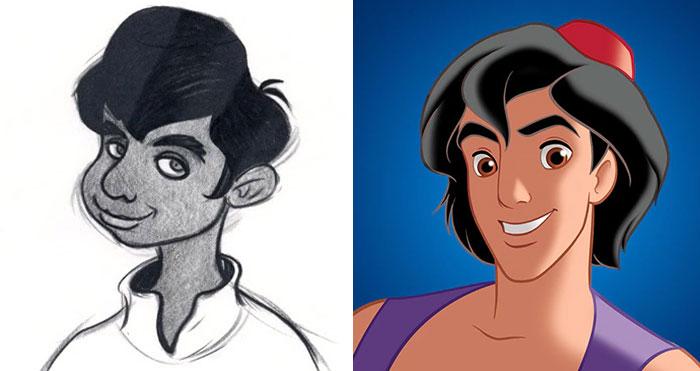 5c9c835f1e991 concept art sketches original compared disney characters 10 5c9893473b02b  700 - Personagens da Disney em comparação com sua arte conceitual original