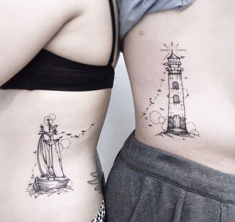 5cee3cdd561f7 matching tattoo ideas 12 5ce53de206759  700 - 30 criativas tatuagens conectadas entre pessoas