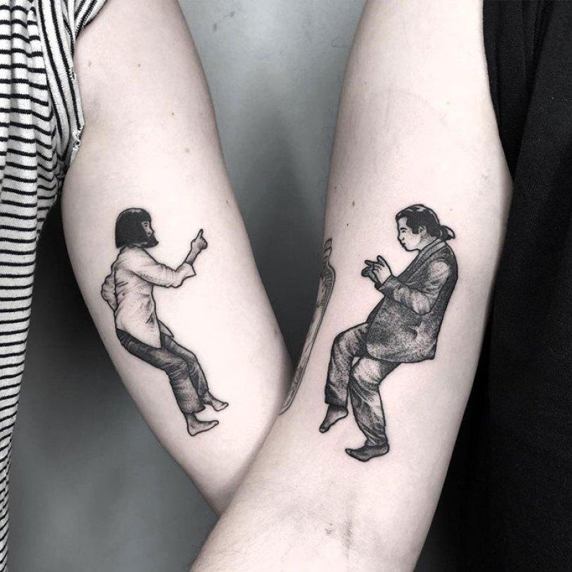 5cee3cdfbba35 matching tattoo ideas 36 5ce53f9ab4a3c  700 - 30 criativas tatuagens conectadas entre pessoas